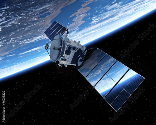 Tuinposter Heelal Satellite Orbiting Earth