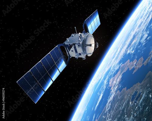 Photo  Satellite In Space. 3D Scene.