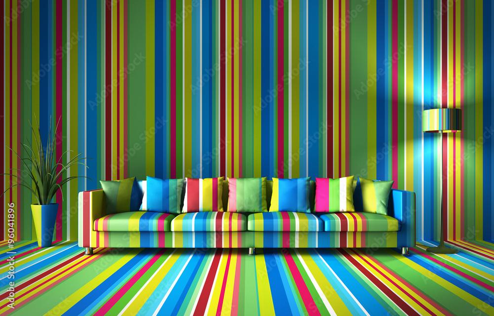 Fototapety, obrazy: Sofa - bunte Streifen