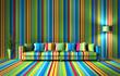 canvas print picture - Sofa - bunte Streifen