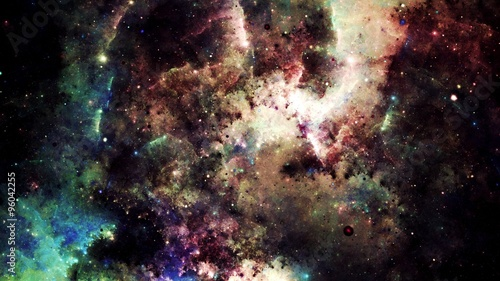 Digital abstract of a bright and colorful nebula galaxy and stars