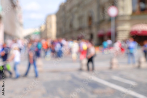 Keuken foto achterwand New York Blurred streets of city Moscow