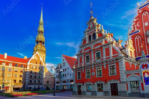 Fotografie, Obraz City Hall Square in the Old Town of Riga, Latvia