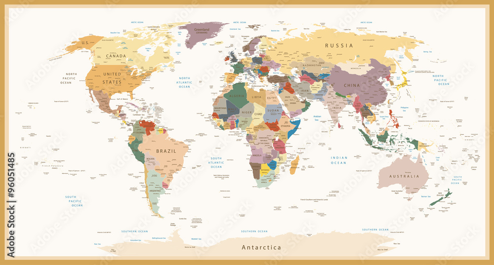 Fototapety, obrazy: Highly Detailed Political World Map Vintage Colors