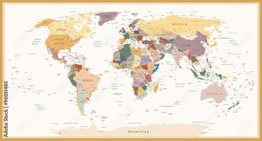Bardzo Szczegółowa Polityczna Mapa Świata Vintage Kolory <span>plik: #96051485 | autor: pomogayev</span>