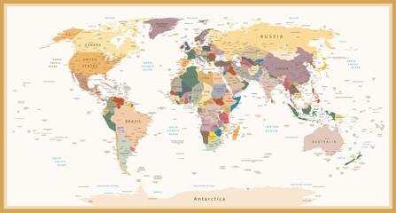 Fototapeta Highly Detailed Political World Map Vintage Colors