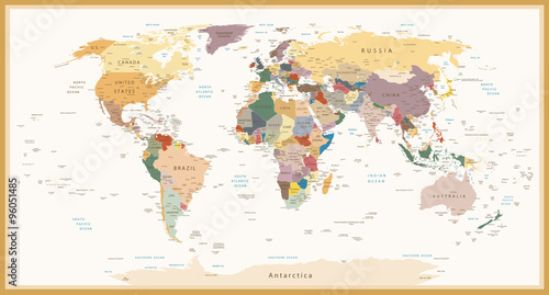 Fotografie, Obraz Highly Detailed Political World Map Vintage Colors