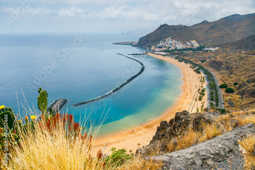 Poster Canary Islands Famous beach Playa de las Teresitas,Tenerife, Canary islands, Spain