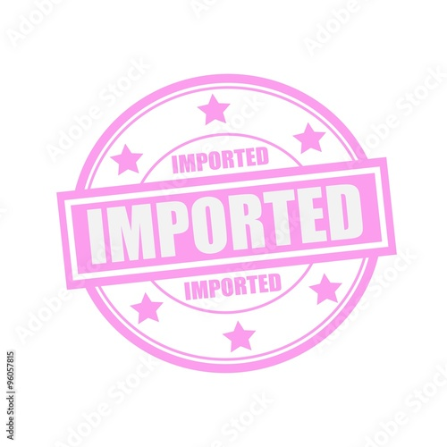 Valokuva  Imported white stamp text on circle on pink background and star