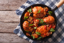 Cacciatori Chicken With Mushrooms In A Pan. Horizontal Top View