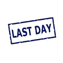 Last Day Blue Stamp Text On Rectangular White Background