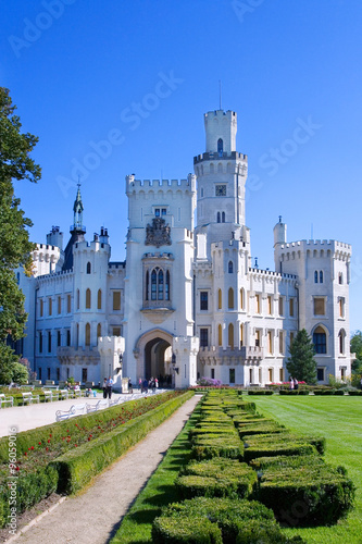 neo-gothic castle and gardens Hluboka near Ceske Budejovice, South Bohemia, Czec Poster