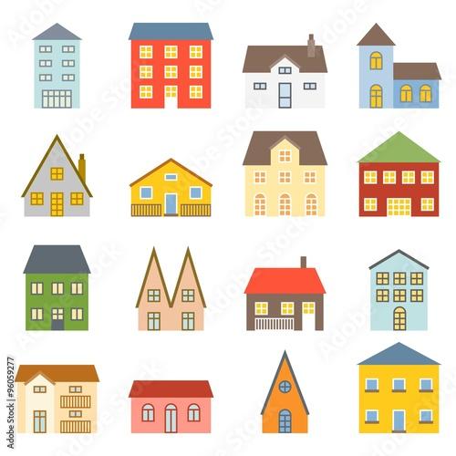 Fototapety, obrazy: Vector house icons set, flat design