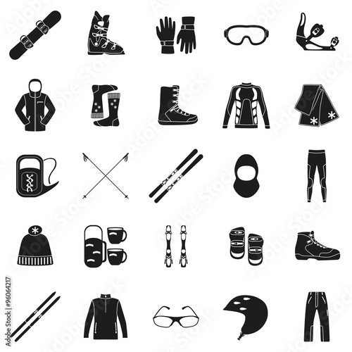 Set Of Equipment Cloth And Shoes For Winter Kind Sports Snowbord Mountain