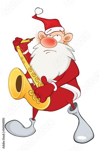 Papiers peints Chambre bébé Illustration of a Cute Santa Claus a Saxophonist. Cartoon Character