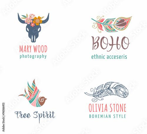Foto auf AluDibond Boho-Stil Bohemian, tribal, ethnic icon set with feather and bird