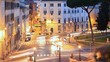 Piazza D'Aracoeli at dawn, Rome, Italy. Time Lapse