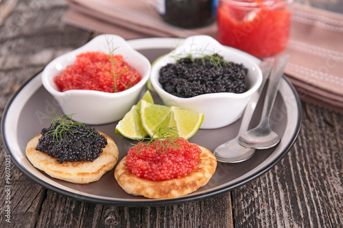 Recess Fitting Appetizer canape, caviar and blini