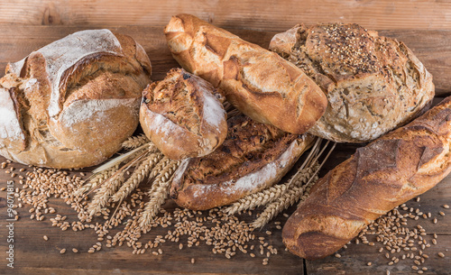 Poster Bakkerij Composition of various breads
