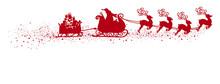Fliegender Weihnachtsmann Mit Rentierschlitten, Anhänger Mit Geschenken Und Schweif. Freigestellte, Rote Vektor Silhouette. Isoliert Weißer Hintergrund. Shape, Kontur, Schattenriss Vorlage. Symbol