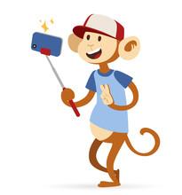 Selfie Photo Monkey Ape Boy Hi...