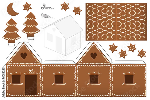 Gingerbread House Paper Model With Trees Moon And Stars