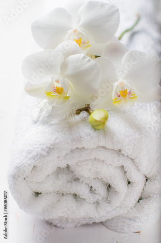 Fototapety, obrazy: SPA concept with towel and orchid