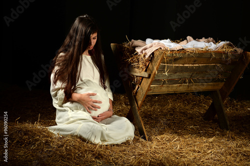 Fotografie, Obraz  Young Pregnant Mary with Manger