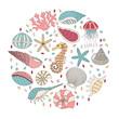 Vector set of seashells, starfish and seahorses