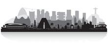 Rio De Janeiro Brazil City Skyline Silhouette