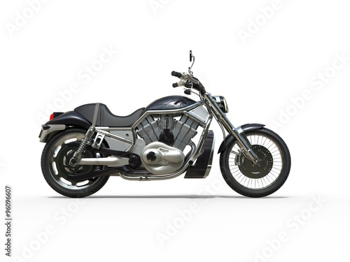 Black Powerful Motorcycle - Side View Canvas