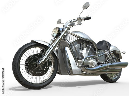 Foto  Powerful Vintage Motorcycle - White