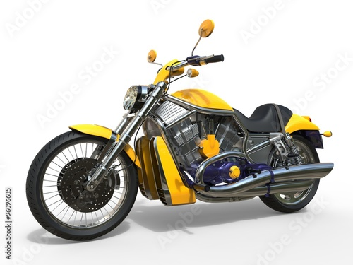 Powerful Yellow Motorcycle Canvas