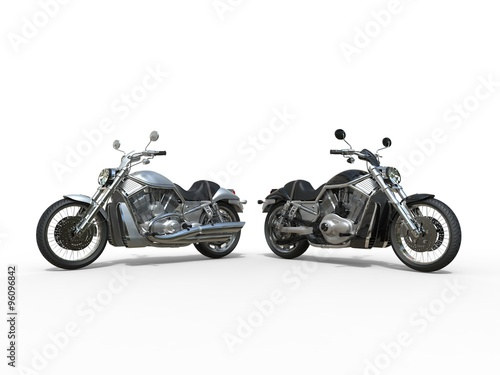 Black and White Motorcycles Side by Side Poster
