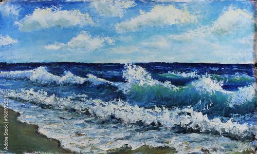 Zdjęcie XXL Oryginalny obraz olejny pejzaż morski, fale morza, błękitne niebo, chmury, na płótnie. Grafika Impasto. Sztuka impresjonizmu.