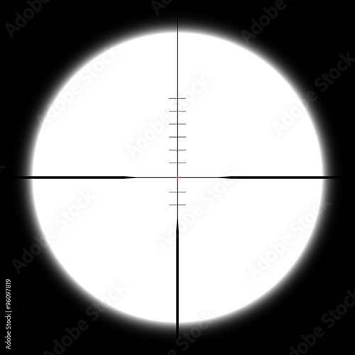 Fotografía  Vector sniper optical sight with crosshair and red dot