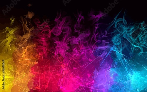 Fotobehang Rook Rainbow smoke background. Vector version