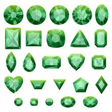 Set Of Realistic Green Jewels. Green Emeralds.