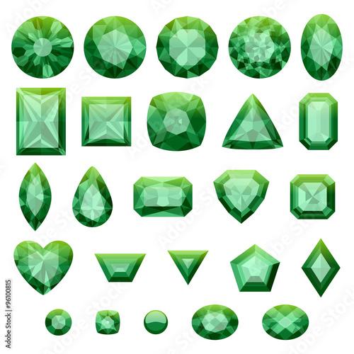 Photo Set of realistic green jewels. Green emeralds.