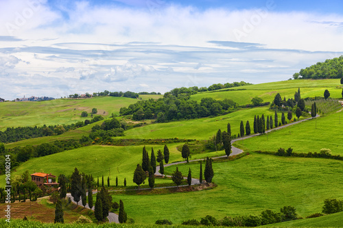 Deurstickers Toscane Beautiful landscape of Tuscany with the twisting road and cypresses