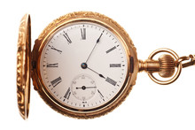 Antique Pocket Watch Isolated On White Background
