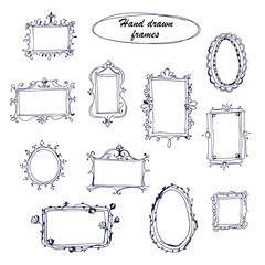 Vector Set of hand drawn decorative frames