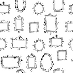 Seamless vector pattern with hand drawn frames.