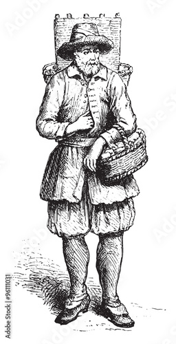 Fotografía  Cheesemaker merchant of Marolles, in 1680 approximately, vintage