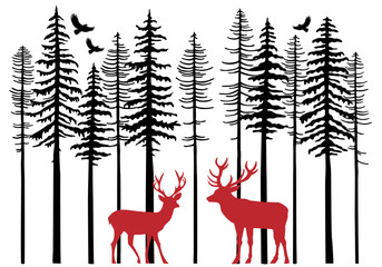FototapetaFir tree forest with reindeer, vector