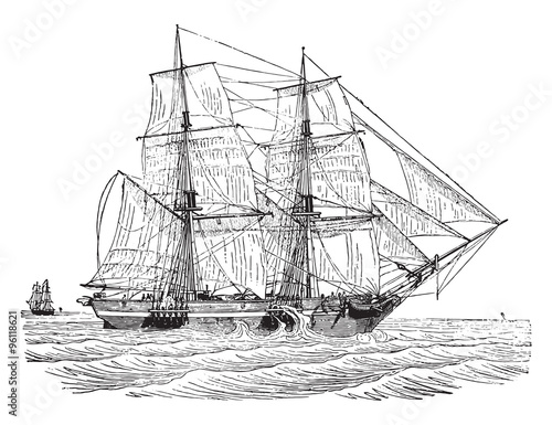 Canvas-taulu Trading brig as close to the wind, vintage engraving.