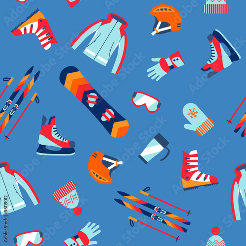Cotton fabric Seamless pattern of winter sport