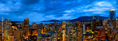 Vancouver, Canada panorama skyline at sunset. Aerial view.