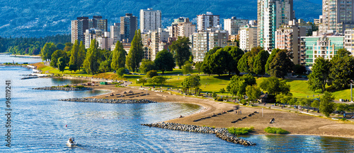 Spoed Foto op Canvas Canada Vancouver beaches panorama, aerial view