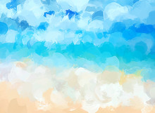 Blue Sea Brush Strokes Background.